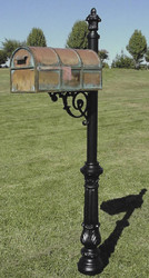 Brass Lockable Mailbox with Post