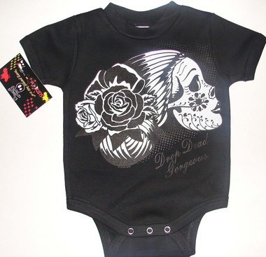 Drop Dead Gorgeous Sugar Skull Onesie in Black.