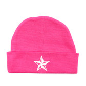 Punk Rock Baby Beanie Hat: White Nautical Star on Pink