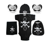 Punk Rock Baby 6 Piece Gift Set: Argyle Skull White