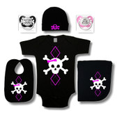 Punk Rock Baby 6 Piece Gift Set: Argyle Skull Pink