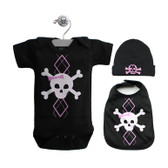 Punk Rock Baby 3 Piece Gift Set: Argyle Skull Pink