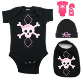 Punk Rock Pink Argyle Skull on Pink Onesie Bib & Beanie Gift Set