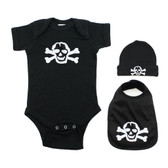 Punk Rock White Skull Black Onesie Beanie & Bib Baby Gift Set
