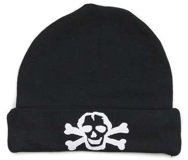 Black Baby Beanie Hat with White Skull