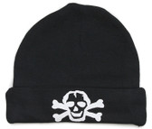 Black Baby Beanie Hat with White Skull
