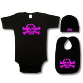 Punk Rock Baby 3 Piece Gift Set: Skull Pink