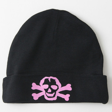 Black Baby Hat with Pink Skull Graphics