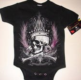 Punk Baby Onesie or Toddler T-Shirt: Skull Crown & Roses