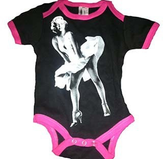 Marilyn Monroe Dress Black Pink Ringer Baby Onesie.