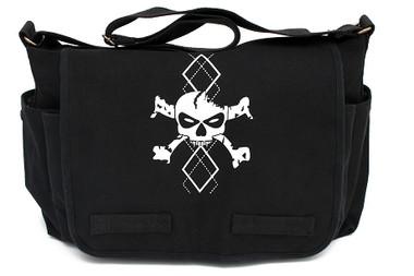 Black Canvas Diaper Bag with White Argyle Skull Front