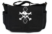 Black Canvas Diaper Bag with White Argyle Skull Front