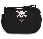 Cool Punk Rock Diaper Bag: Argyle Skull Pink
