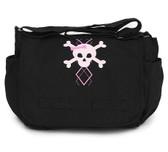 Cool Punk Rock Diaper Bag: Argyle Skull Pink