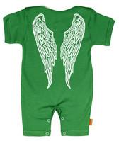 Punk Rock Baby Short Sleeve Romper: Angel Wings