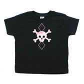 Punk Rock Toddler T-Shirt: Argyle Skull Pink