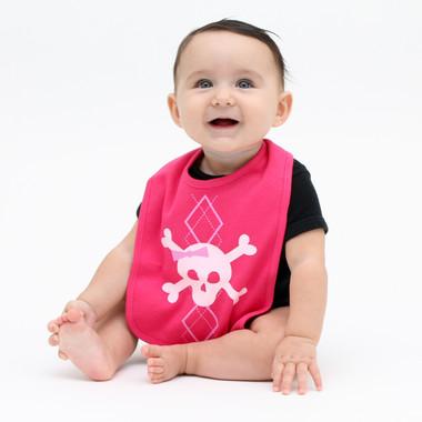 Pink Argyle Skull Baby Bib
