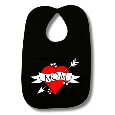 Mom Heart Tattoo Black Baby Bib