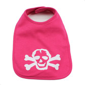 Pink Baby Bib with White Skull Graphics