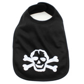 Black Baby Bib with White Skull