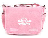 Cool Punk Rock Diaper Bag: Pink with White Skull