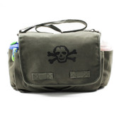 Cool Punk Rock Diaper Bag: Olive with Black Skull