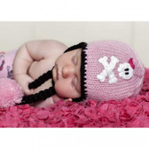 Cool Knit Skull & Crossbones Baby Pink Beanie Hat