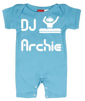 Punk Rock Personalized Short Sleeve Baby Romper: DJ