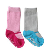 Baby Girl 2 Pair Mary Jane Sock Gift Set: Fuchsia & Turquoise