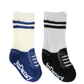Baby Boy 2 Pair Tube Sneaker Sock Gift Set: Black & Blue
