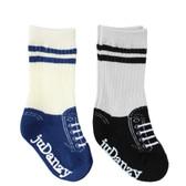 Baby Boy 2 Pair Tube Sneaker Sock Gift Set: Black & Blue