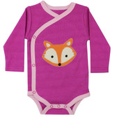 Baby Long Sleeve Kimono Onesie: Pink Fox