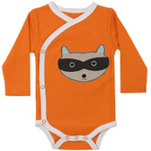 Baby Long Sleeve Kimono Onesie: Orange Raccoon