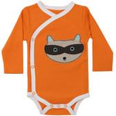 Baby Long Sleeve Kimono Onesie: Orange Raccoon
