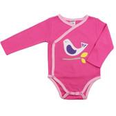 Baby Long Sleeve Kimono Onesie: Pink Bird