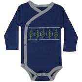 Baby Long Sleeve Kimono Onesie: Forest