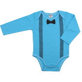 Baby Long Sleeve Onesie: Blue Bow Tie