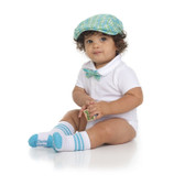 Baby Cabbie Hat Gift Set: Turquoise Plaid