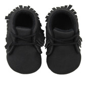 Baby Shoes: Black Moccasins