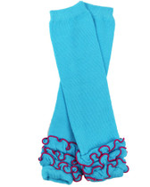 Turquoise Ruffle Baby & Toddler Leg Warmers.