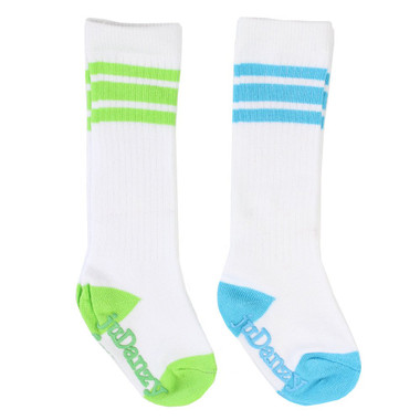 Baby 2 Pair Tube Sock Gift Set: Turquoise & Lime Stripes
