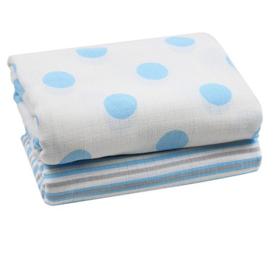 Muslin Swaddle Blanket: Blue & White