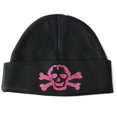Pink GLITTER Skull on Black Baby Beanie Hat