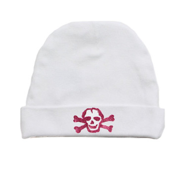 Pink GLITTER Skull on White Baby Beanie Hat
