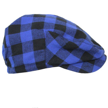 Blue Plaid Newsboy Baby Hat