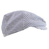 Navy Blue & White Striped Newsboy Baby Hat