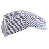 Navy Blue & White Striped Newsboy Baby Hat
