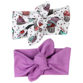 Cupcake and Berry Pink Baby Girl Head Wrap Gift Set