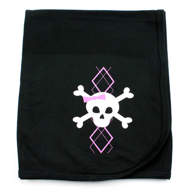 Pink Argyle Skull Receiving Swaddling Baby Blanket