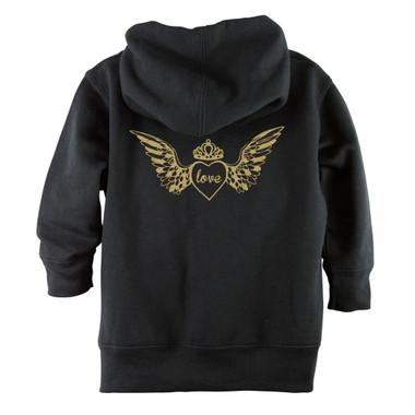Punk Rock Gold Sparkle Glitter Skull Baby & Toddler Hoodie Jacket - Back